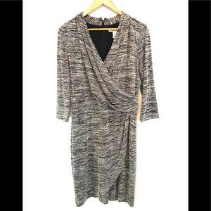 White House Black Market Gray Long Sleeve Dress